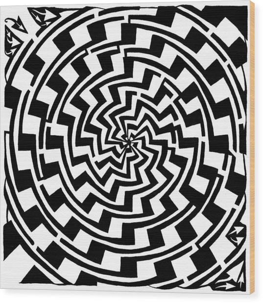 Gradient Tunnel Spin Maze Wood Print by Yonatan Frimer Maze Artist