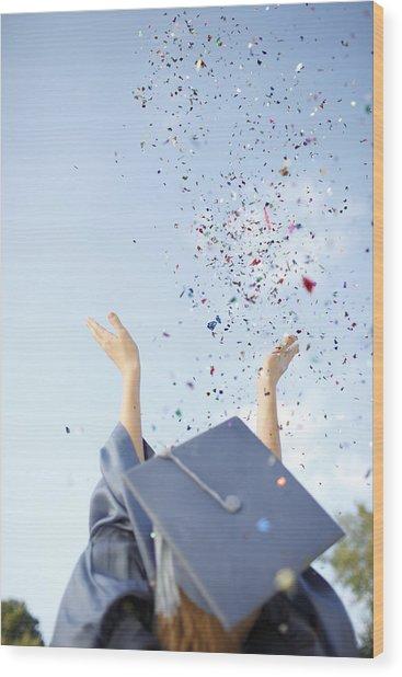 Graduate Tossing Confetti Seen Wood Print by Gillham Studios