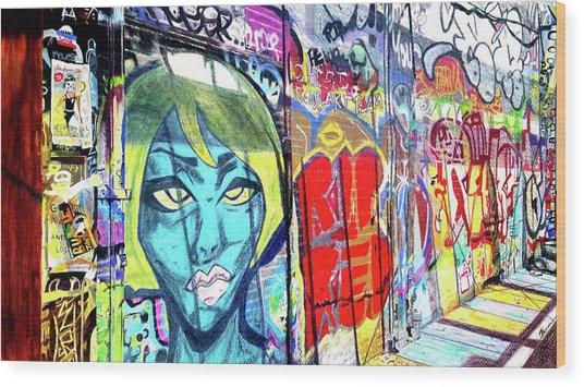 Wood Print featuring the drawing Graffiti Alley, Boston, Ma by Patti Ferron