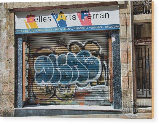 Graffiti Barcelona La Rambia Iv  Wood Print