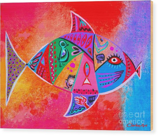 Graffiti Fish Wood Print