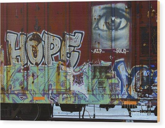 Grafitti Art Riding The Rails 6 Wood Print