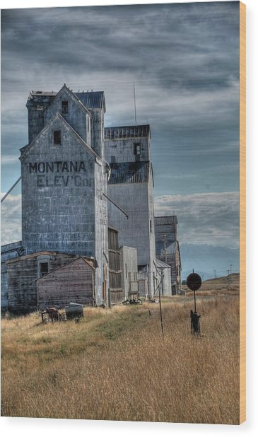 Grain Elevators, Wilsall Wood Print