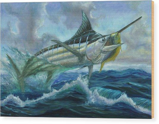 Grand Blue Marlin Jumping Eating Mahi Mahi Wood Print