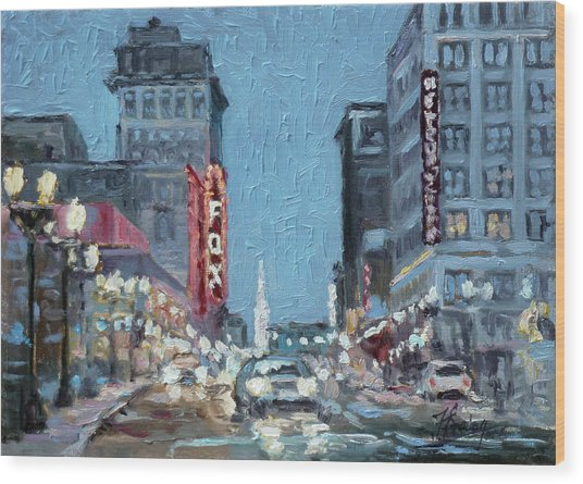 Grand Boulevard At Night, St.louis Wood Print
