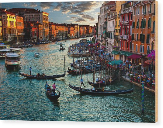 Grand Canal Sunset Wood Print
