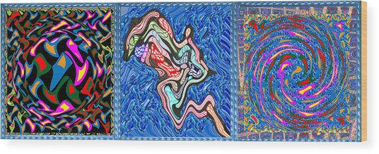 Grand Canvas Abstract Collection Seascape Waves Tornado Island Nightmare Wood Print