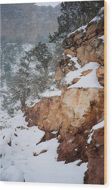 Grand Canyon In Snow Wood Print by Ruth Sharton