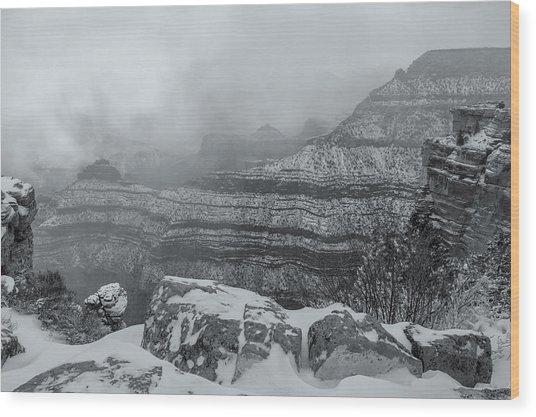 Grand Canyon In The Fog Wood Print