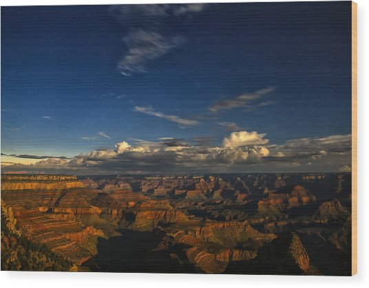 Grand Canyon Moonlight Wood Print