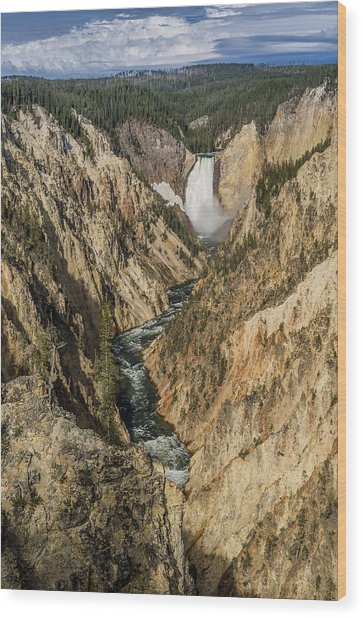 Grand Canyon Of The Yellowstone And Yellowstone Falls Wood Print