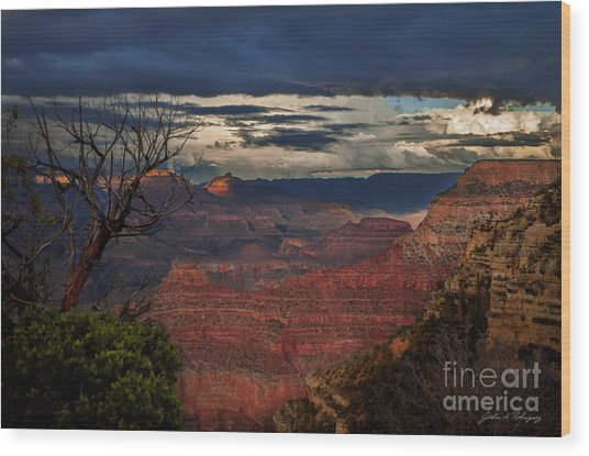 Grand Canyon Storm Clouds Wood Print