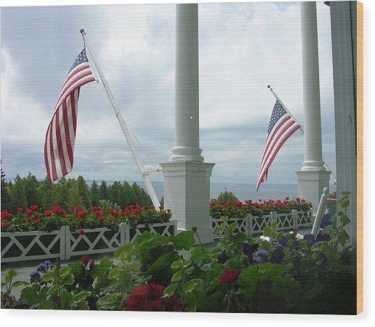 Grand Hotel Flags Wood Print