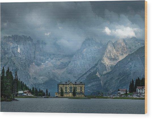 Grand Hotel Misurina Wood Print