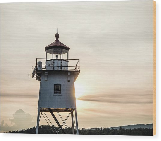 Wood Print featuring the photograph Grand Marais Lighthouse by Whitney Leigh Carlson