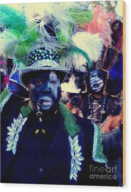 Grand Marshall Of The Zulu Parade Mardi Gras 2016 In New Orleans Wood Print