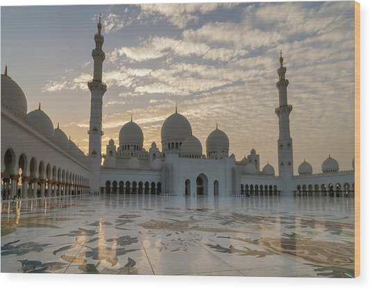 Grand Mosque Sunset Wood Print