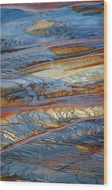 Grand Prismatic Runoff Wood Print