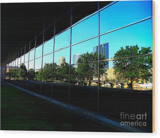Grand Rapids Mi On Glass-12 Wood Print by Robert Pearson