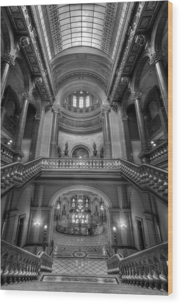 Grand Staircase Illinois State Capitol B W Wood Print