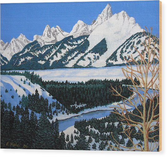 Grand Teton Wood Print by Frederic Kohli