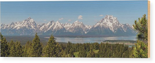 Grand Tetons Over Jackson Lake Panorama Wood Print