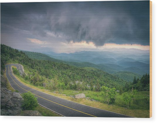 Grandfather Mountain Storm Wood Print