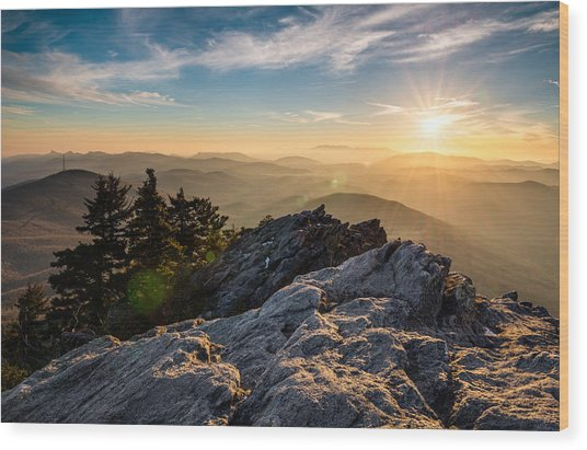 Grandfather Mountain Sunset Blue Ridge Parkway Western Nc Wood Print