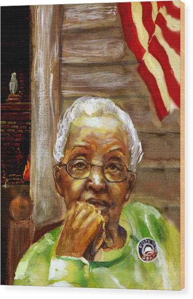 Grandma For Obama Wood Print