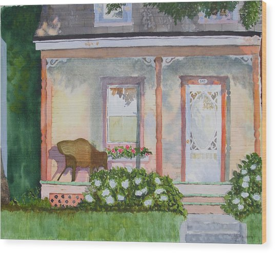 Grandma's Front Porch Wood Print by Ally Benbrook