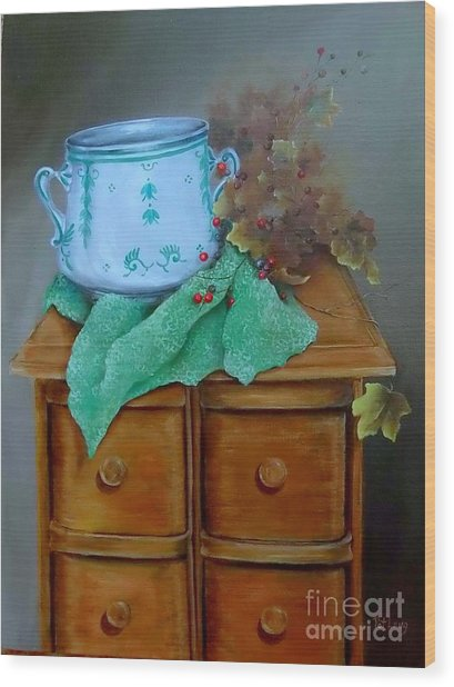 Grandma's Sewing Chest Wood Print by Patricia Lang