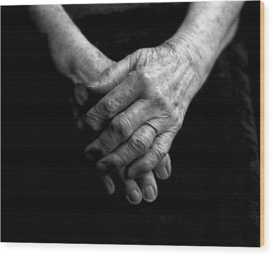 Grandmother's Hands Wood Print by Todd Fox