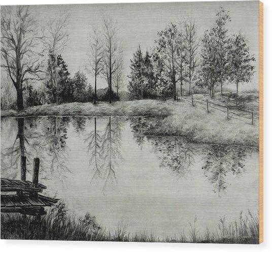 Grandpa's Pond Wood Print