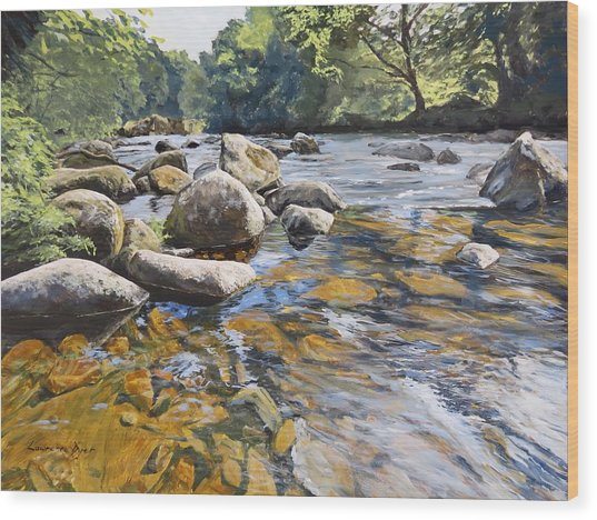Granite Boulders East Okement River Wood Print