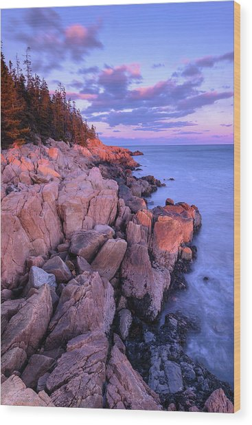 Granite Coastline Wood Print