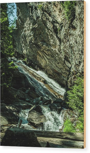 Granite Falls Of Ancient Cedars Wood Print