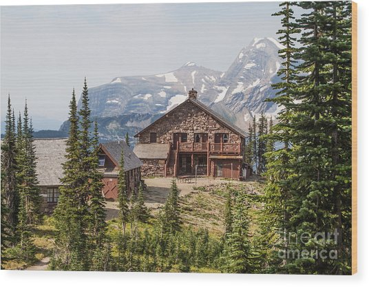 Wood Print featuring the photograph Granite Park Chalet And Heaven's Peak 3 by Katie LaSalle-Lowery