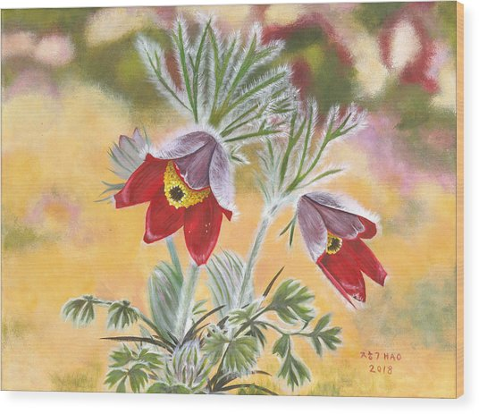 Granny Flowers Wood Print