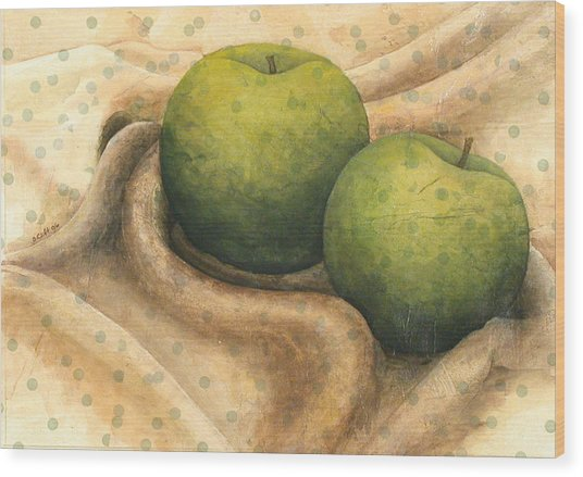 Granny Smith Apples Wood Print by Sandy Clift