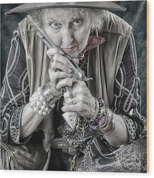 Granny With Her Gun  Wood Print by Steven Digman