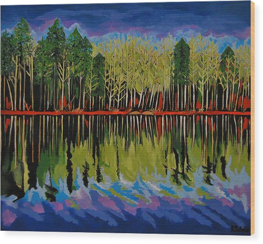 Grant's Lake Reflections Wood Print