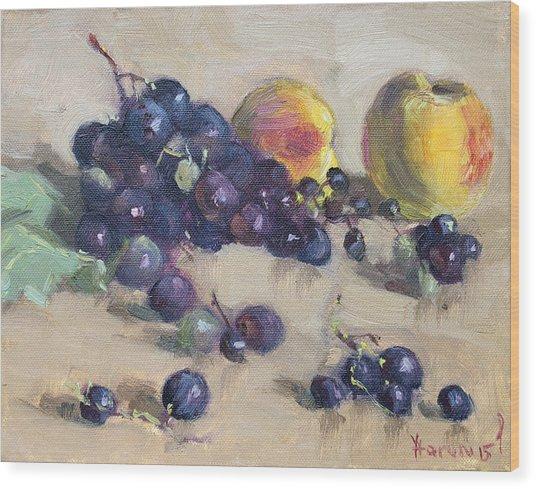 Grape And Peach Wood Print