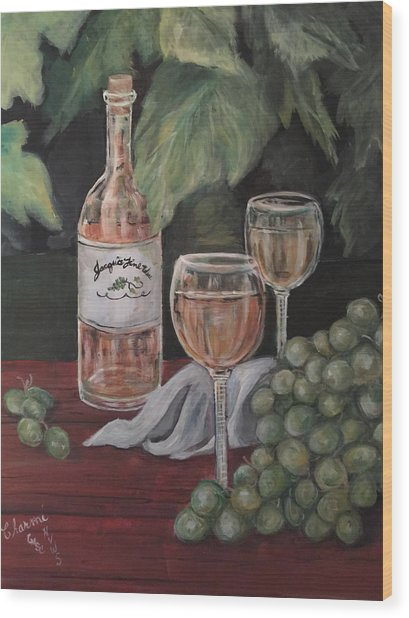 Grape Leaves And Wine Wood Print