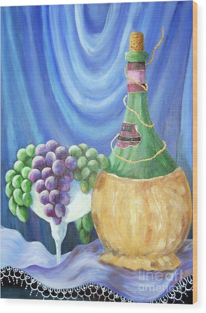 Grapes And Lace Wood Print by Janna Columbus