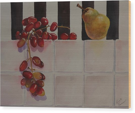 Wood Print featuring the painting Grapes And Pear by Ruth Kamenev