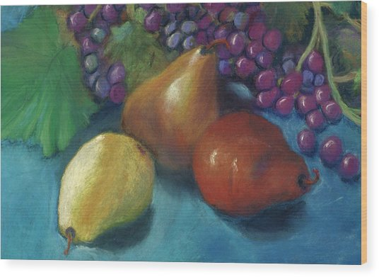 Grapes And Pears 2 Pastel Wood Print by Antonia Citrino