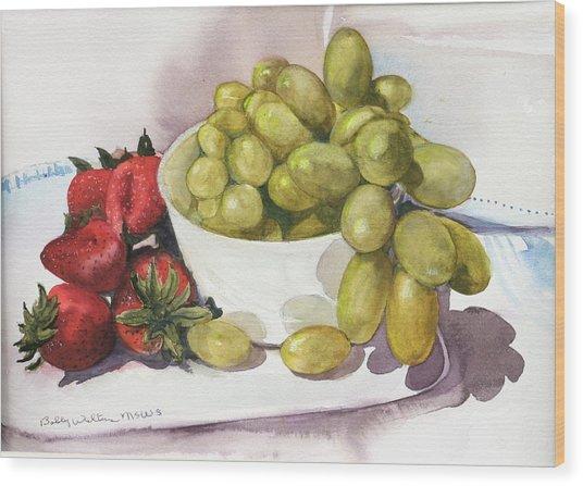 Grapes And Strawberries Wood Print