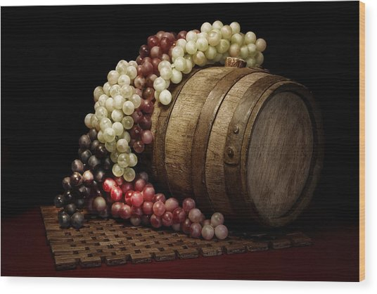 Grapes And Wine Barrel Wood Print