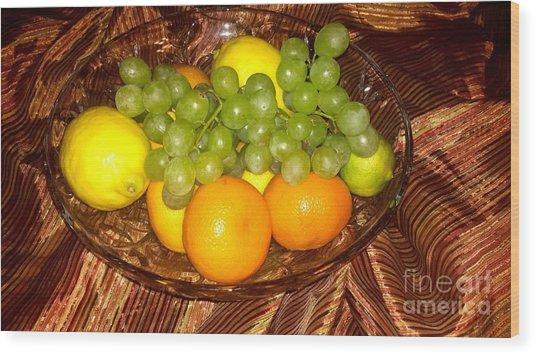 Grapes, Lemons, Mandarins And Lime  Wood Print