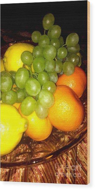 Grapes, Mandarins, Lemons Wood Print
